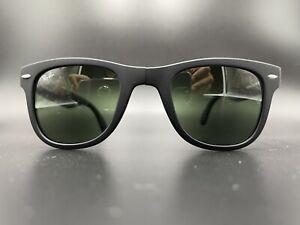 Ray-Ban Sunglasses RB 4105 601S 50-22-140 Wayfarer Folding Matte Black/Green G15