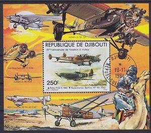 Yibuti Bloque 7 ,Aviones Propellermaschinen, Gest Used