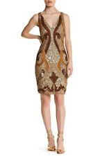 Lotus Threads Hand Beaded Art Deco Smokey Gold Cocktail Dress Sz Xs & S 3793 Nwt