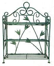 """Wire Shelf, Collapsible 3-Tier Shelf, Green Leaves, 19.5 X 14"""" Tabletop or Wall"""