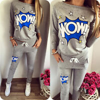 Womens 2Pcs Printed Tracksuit Pullover Sweatshirt Casual Trousers Loungewear