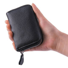 New Black Solid Leather Accordion Wallet Zip Around ID Credit Card Case Holder