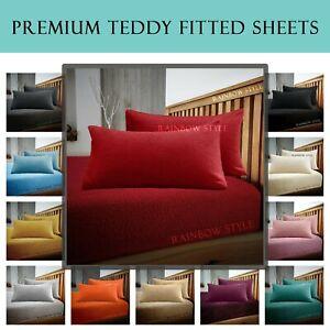 "Teddy Bear Fleece Extra Deep Fitted Sheets 12""/30cm Box Bedding Cozy Warm Fluffy"
