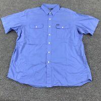 Polo Ralph Lauren Short Sleeve Button Up Shirt Men's Size XL Blue Front Pockets