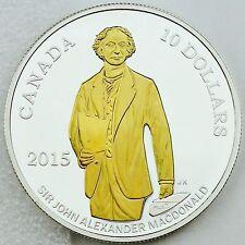 2015 $10 Sir John A. Macdonald 200th Birth Anniversary 1/2 oz Silver Gold Plated