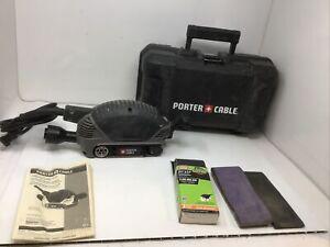 "Porter Cable Model 371 2-1/2"" X 14"" Compact Belt Sander. W/ Case & Extra Belts"