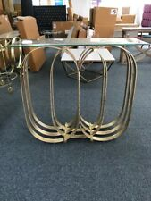 NEW Atkin And Thyme Carter Console Table Antique Brass Finish Glass Top Boxed