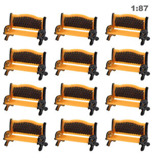 12pcs Model Train Platform Park Street Seat Bench Chair Settee 1:100 TT Scale