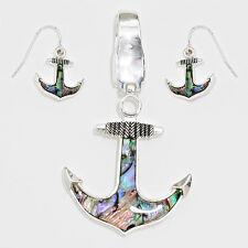 Anchor Pendant Earrings Beach Nautical Sealife SILVER ABALONE Fashion Jewelry