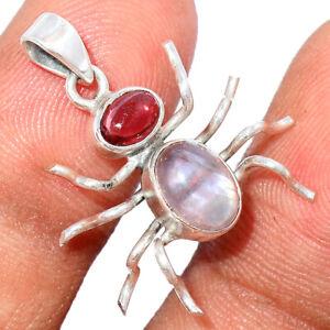 Spider - Rose Quartz - Madagascar & Garnet 925 Silver Pendant Jewelry BP87485