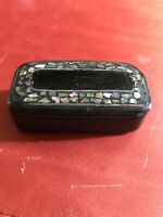 Antique Paper Mache Snuff Box Old English With Inlaid MOP C. 1800-20 Vintage