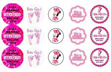 15 Disney Baby Girl Minnie Mouse Shower Stickers Lollipop Labels Personalized