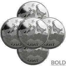 2015 Silver 1 oz New Zealand Lunar Goat - (5 Coins)