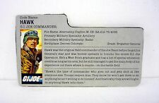 VINTAGE HAWK FILE CARD G.I. Joe Action Figure GREAT SHAPE 1986