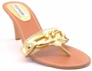 New STEVE MADDEN Women Gold Leather High Heel Slide Thong Sandal Shoe Sz 7 M