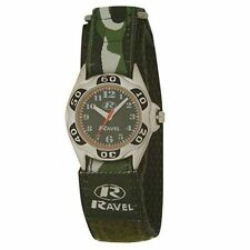 Ravel Boys Kids Army Green Camouflage Watch Sporty Velcro Strap UK