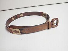 Leather Southwest/Aztec Sewn Belt, Size 38