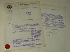 Facture Ancienne BALLOT 1921 auto car brochure prospectus en tete Moteur avion
