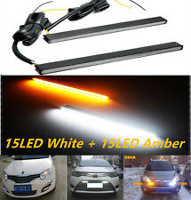 2PC Switchback Slim Aluminum LED DRL Day Time Running Light fog Lamp White Amber