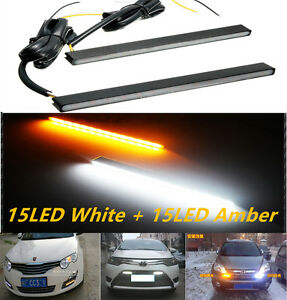 2PC Switchback Slim Aluminum LED DRL Day Time Running Light fog Lamp White Amber