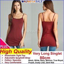 PLUS SIZE LONG CAMI BASIC TIGHT WOMEN SINGLET TOP 80cm VERY LONG 1XL 2XL 3XL XL