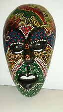 Indonesian Colorful Painted Dot Matrix Tribal Head Ethnic Face Mask Wood