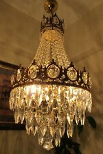Antique Vintage.French Basket Style Crystal Chandelier Lamp Light 1940's.14 in..