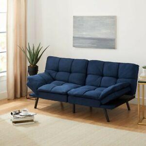 Memory Foam Futon, Blue Suede Fabric, 72''