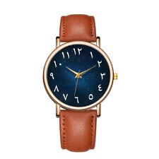 Men Arabic Numeral Watch with Brown Leather strap, gold face