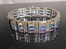 WOW Earth-mined Gem Wide Sterling Bracelet sz 8: Amethyst, Topaz, Citrine B7431