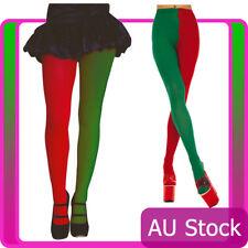 Ladies Elf Tights Red Green Pantyhose Santa Christmas Xmas Stockings Costume