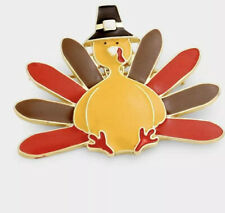 Holiday Harvest Gold Tone Brooch Thanksgiving Turkey Comical Enamel Painted