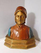 """Rare buste ancien """" homme costume traditionnel """" - bronze polychrome fourré"""