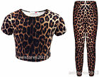 New Girls Leopard Print Crop Top T-Shirt Leggings Age Size 7 8 9 10 11 13 Years