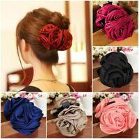 Fashion Womens Girls Chiffon Rose Flower Bow Hair Claw Clip Barrette s Jaw F7L8
