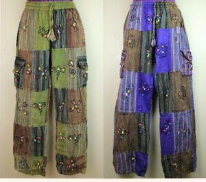 S-5XL UNISEX Cotton Trousers Hippy Boho Yoga Pants Wide Festival Casual HT17
