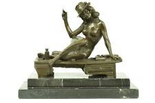 Signed Vitaleh Burlesque Dancer with Hat and Cigar Bronze Sculpture Art Theatre