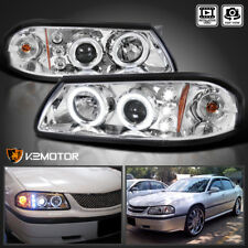 2000-2005 Chevy Impala LED Halo Projector Headlights Lamp Chrome