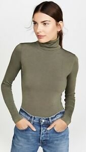 Wolford Colorado String Bodysuit Army Green Turtleneck Pullover Small ~ As New