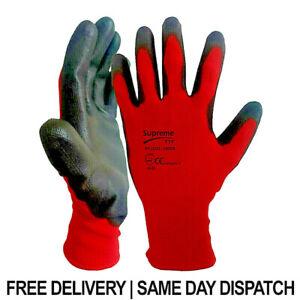 Red Black PU Coated Nylon CUT Safety Work Garden Gloves Builders Mens Gardening