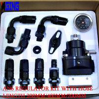 AN6 6-AN Fuel Pressure Regulator Gauge Kit Fittings Oil Line Hose 100PSI Black
