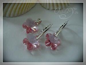 Swarovski Elements Schmuckset Silber 925 Flower Blume rosa Kinder Mädchen