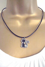 Silver Alloy Enamel and Diamante Black Cat  on Leather Cord Necklace