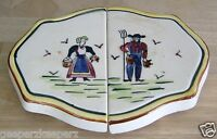 AMERICANA Farmer & Wife Expand Ceramic Trivet FRED ROBERTS Hand Painted Japan