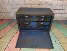 Vintage Blue Industrial Metal Engineers Tool Box Cabinet Drawers