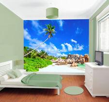 Beach Tropical Tree Sea Sky Rocks Photo Wallpaper Wall Mural Home Bedroom Deco
