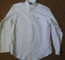 RALPH LAUREN custom fit longsleeve shirt plain white w/ logo 16.5