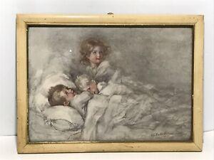 Antique Awake in the Morning Children in Framed Print Signed H.C. Preston