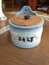 Antique Salt Box Blue White Stoneware Butterflies Salt Glaze