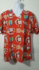 RMF Uniform Scrub Top size Medium Santa Claus Christmas faux wrap short slv E15
